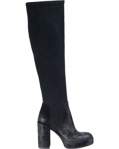 Ботфорты на каблуке кожаные черные Fru.it