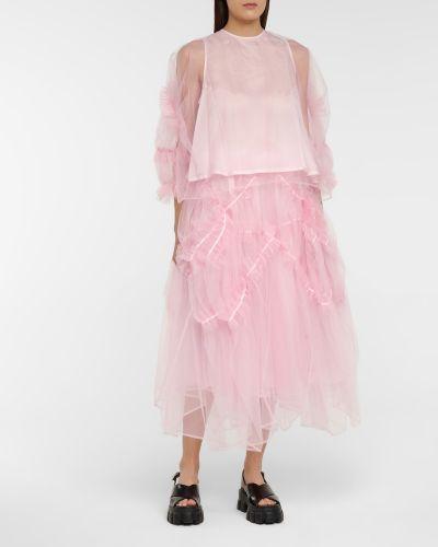 Różowa bluzka tiulowa Noir Kei Ninomiya