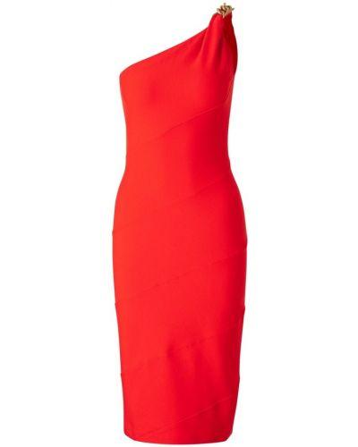 Czerwona sukienka midi asymetryczna z wiskozy Givenchy