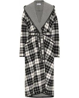 Пальто шерстяное черно-белый Balenciaga