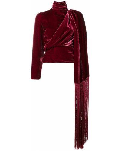 Бархатная блузка с длинным рукавом с бахромой с драпировкой Palomo Spain