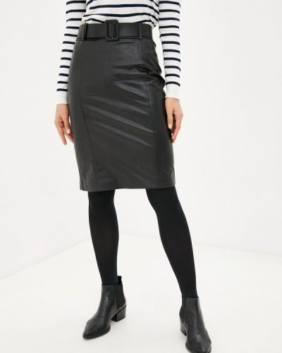 Кожаная черная юбка Lusio