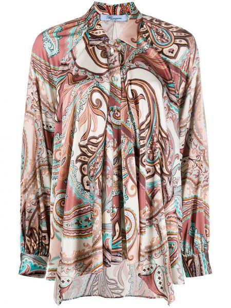 Розовая классическая рубашка с воротником свободного кроя на пуговицах Blumarine