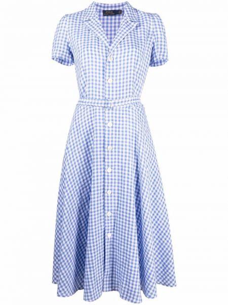Biała sukienka midi krótki rękaw Polo Ralph Lauren