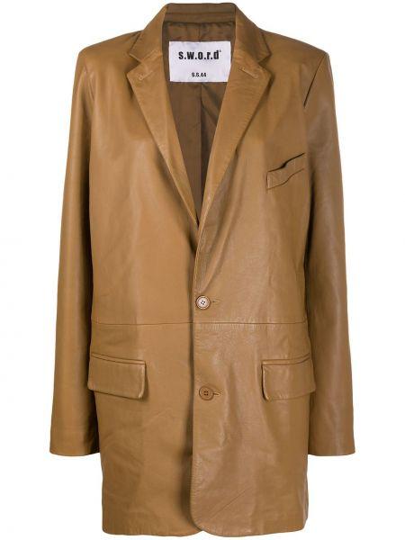 Коричневый кожаный пиджак оверсайз S.w.o.r.d 6.6.44