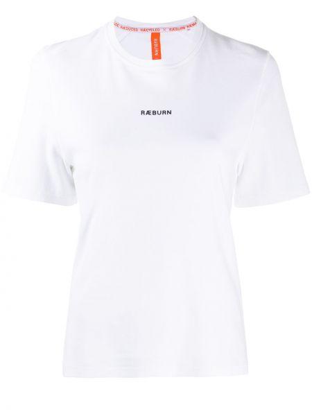 Белая хлопковая прямая футболка с круглым вырезом Raeburn
