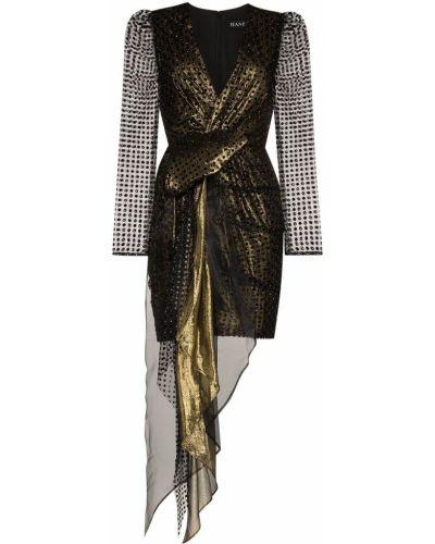 Czarna sukienka mini kopertowa z długimi rękawami Haney