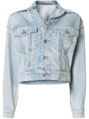 Синяя джинсовая куртка с воротником на пуговицах с карманами Alexander Wang