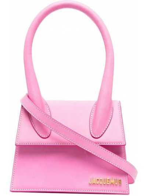 Розовая кожаная сумка на плечо круглая Jacquemus