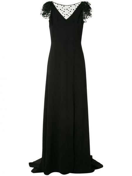 Черное вечернее платье сетчатое с сеткой с вырезом Paule Ka