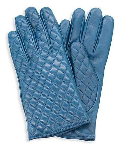 Синие кожаные перчатки с подкладкой Portolano