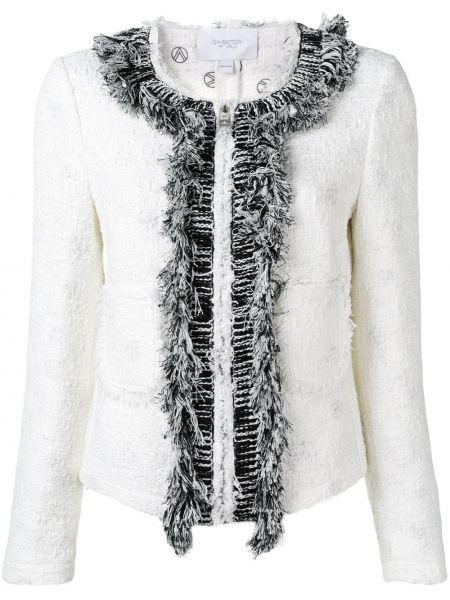 Приталенный белый удлиненный пиджак твидовый Giambattista Valli