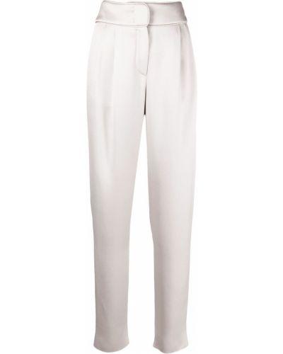 Шелковые серые брюки с декоративной отделкой Giorgio Armani