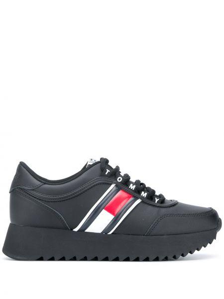 Koronkowa czarny sneakersy na sznurowadłach okrągły nos Tommy Hilfiger