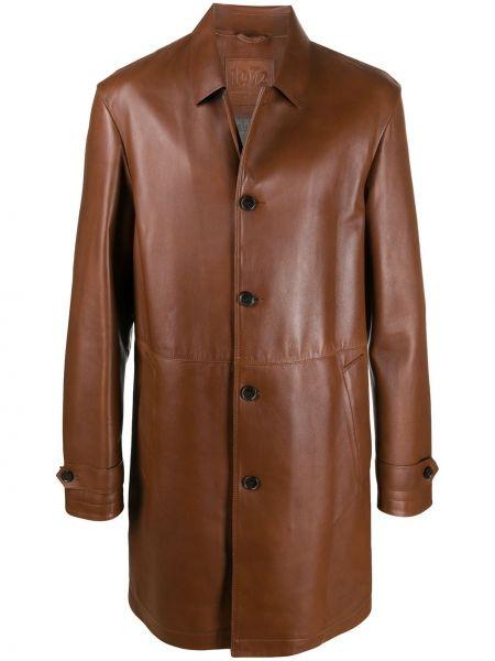 Коричневое прямое кожаное длинное пальто с воротником Desa 1972