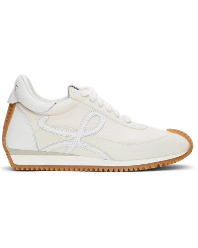 Złote białe sneakersy na obcasie Loewe