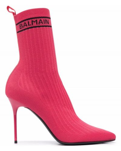Кожаные розовые носки на каблуке Balmain