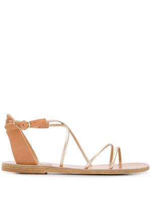 Beżowe złote sandały grecki płaska podeszwa Ancient Greek Sandals