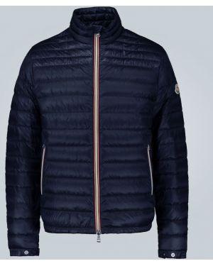 Пуховая синяя облегченная куртка с манжетами Moncler