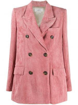 Розовый удлиненный пиджак вельветовый двубортный Isabel Marant étoile
