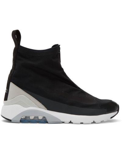 Czarny wysoki sneakersy okrągły okrągły nos na pięcie Nikelab