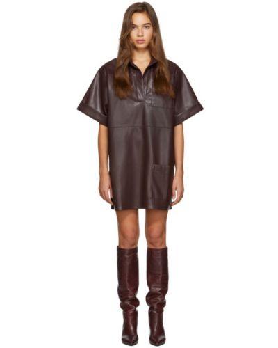 Платье с отложным воротником кожаное Áeron
