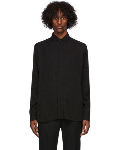 Satyna czarny koszula z kołnierzem z długimi rękawami Saint Laurent