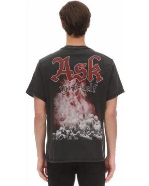 Czarny t-shirt bawełniany vintage Askyurself