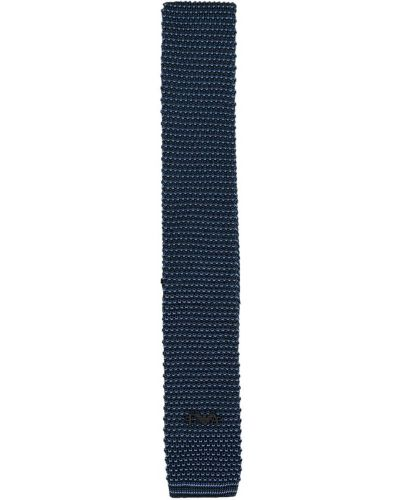 Шелковый синий вязаный галстук Emporio Armani Kids