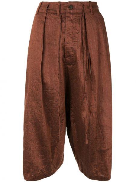 Шелковые коричневые укороченные брюки с поясом с потайной застежкой Forme D'expression