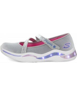 Серебряные мерцающие текстильные спортивные кроссовки Skechers