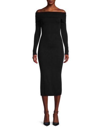 Черное платье макси с длинными рукавами с декольте Bardot