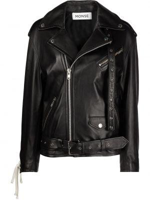 Кожаная куртка на молнии - черная Monse