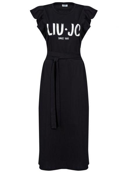 Хлопковое черное платье Liu Jo