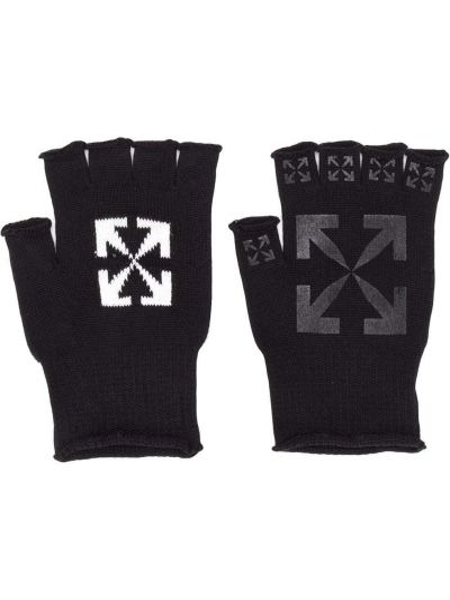 Czarne rękawiczki bez palców z printem bawełniane Off-white