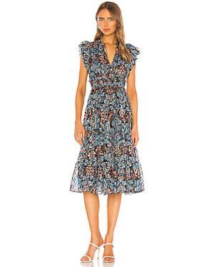 Платье миди с декольте шелковое Ulla Johnson
