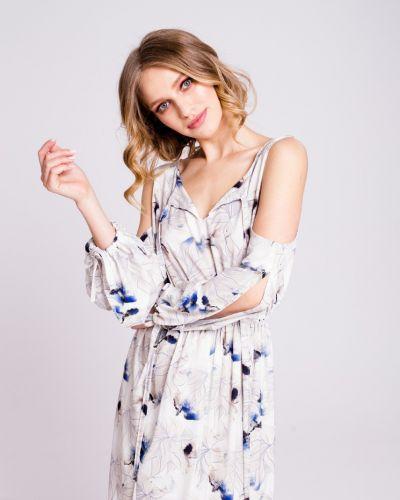 Платье с поясом на резинке свободного кроя Naoko
