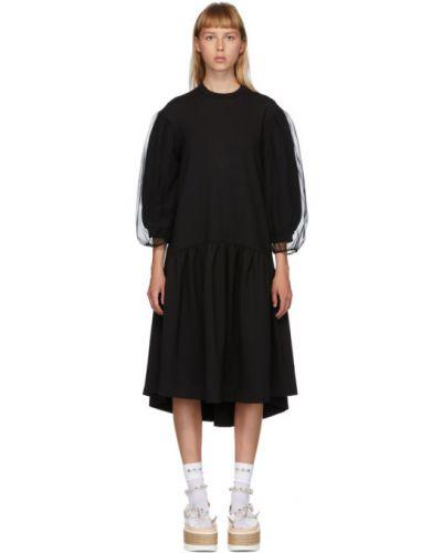 Черное платье из фатина с воротником с манжетами Simone Rocha