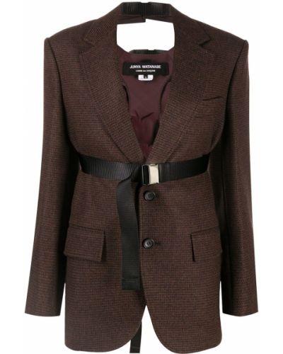 Коричневый удлиненный пиджак оверсайз с поясом Junya Watanabe