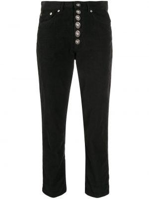 Классические хлопковые черные укороченные джинсы на пуговицах Dondup