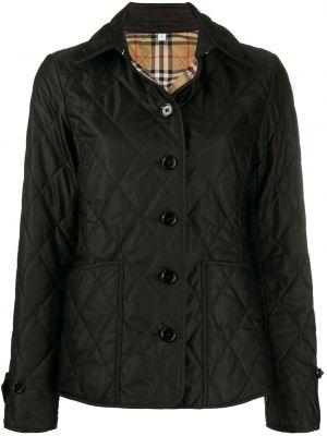 Прямая черная стеганая куртка на пуговицах с подкладкой Burberry