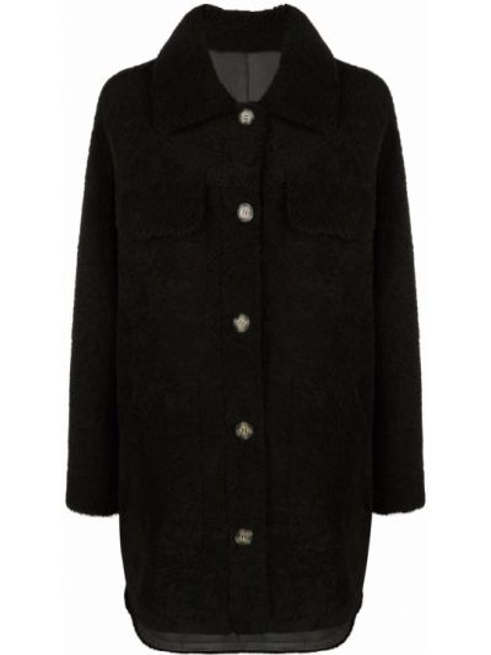 Коричневое пальто на пуговицах Yves Salomon Meteo