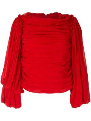 Красная блузка с длинным рукавом с драпировкой с вырезом на молнии Comme Des Garçons