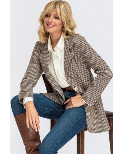Пиджак в клетку - коричневый Dressa