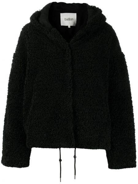 С рукавами черное пальто классическое с капюшоном Ba&sh