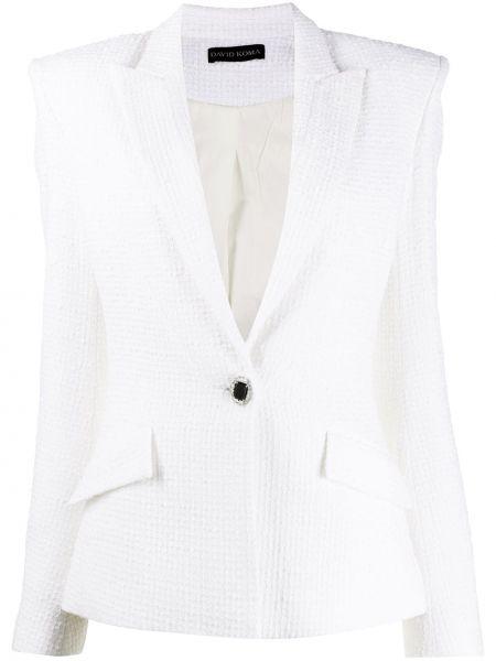 Шерстяной белый удлиненный пиджак на пуговицах David Koma