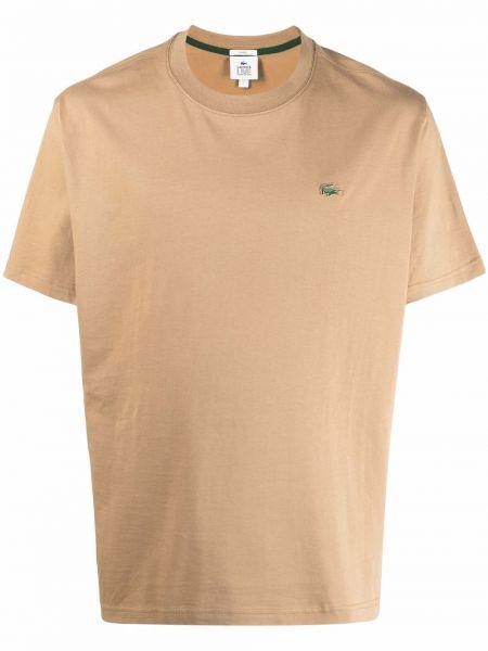 Beżowy t-shirt krótki rękaw bawełniany Lacoste Live