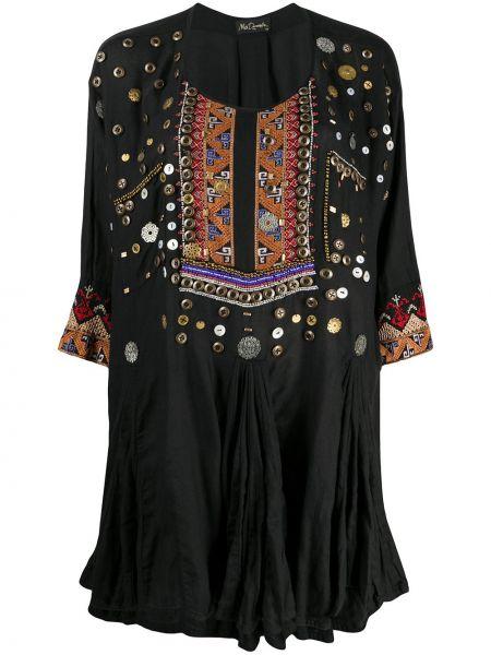 Хлопковое черное платье с вышивкой с кокеткой Mes Demoiselles