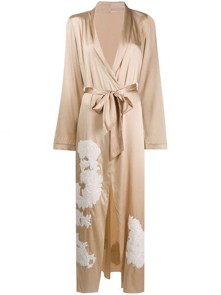 С рукавами шелковый халат с поясом с вышивкой Myla