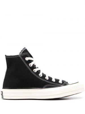 Высокие кеды на шнуровке - черные Converse